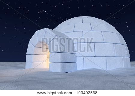 Igloo Icehouse With Warm Light Inside Under Night Sky With Stars Closeup