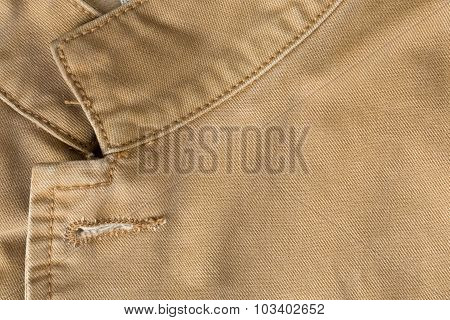 Brown Shirt Fabric Texture Background With Collar Design