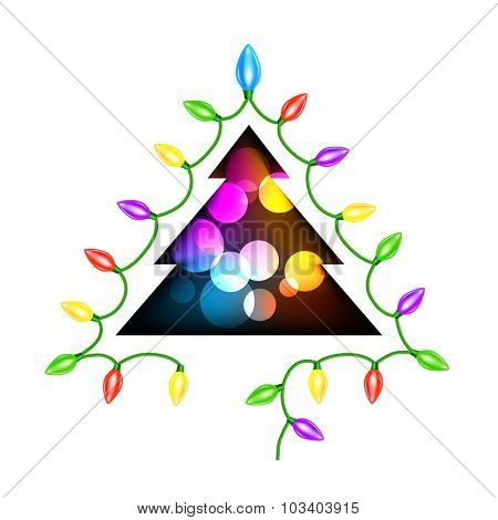 Christmas tree and garland lights on white background. Eps 10