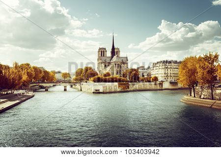 Notre Dame church in Paris and autumn sunny day