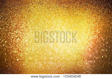 Abstract Defocused Lights, Sparkling Holiday Bokeh Background With Golden Tones, Elegant Christmas B