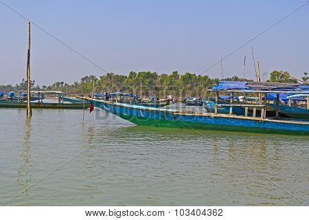 Boats On Chilika Lake
