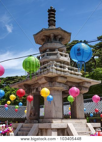 The old Bulguksa Temple hanging lanterns for celebrating the Buddhas birthday, Gyeongiu, South Korea