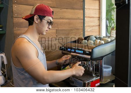 Handsome Man Barista Working Make A Coffee Drink At Cafe