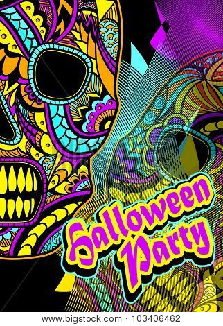 Flyer on Halloween party with Decorate Skull painted ornament