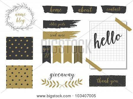 A set of trendy blog design elements in blush pink, gold and black. Buttons, wreaths, icons, arrows,