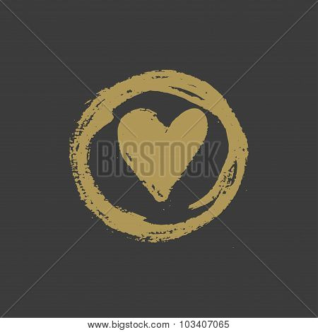 Hand drawn gold ink heart stamp. Vector illustration