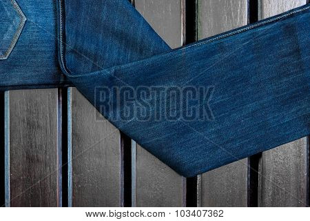 Jean on the wood