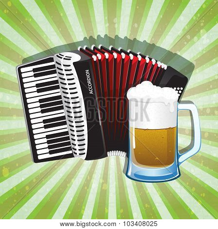 Glass Of Foamy Beer And Accordion