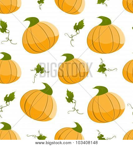 Seamless Pattern Pumpkins Green Leaves