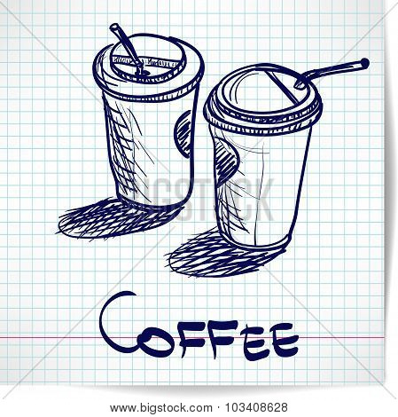 Background with sketch two takeaway coffee cup on checkered pape
