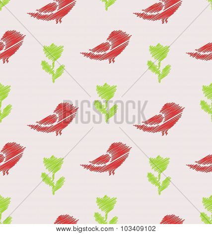 Floral Seamless Pattern with Abstract Birds and Flowers