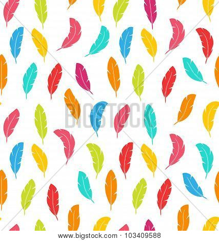 Seamless Pattern of Multicolored Feathers