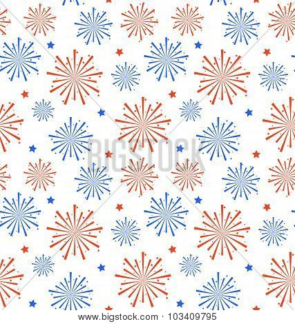 Seamless Pattern firework for Independence Day of USA, Wallpaper