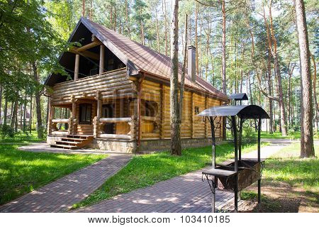 Wooden house in the wood