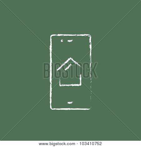 Property search on mobile device hand drawn in chalk on a blackboard vector white icon isolated on a green background.