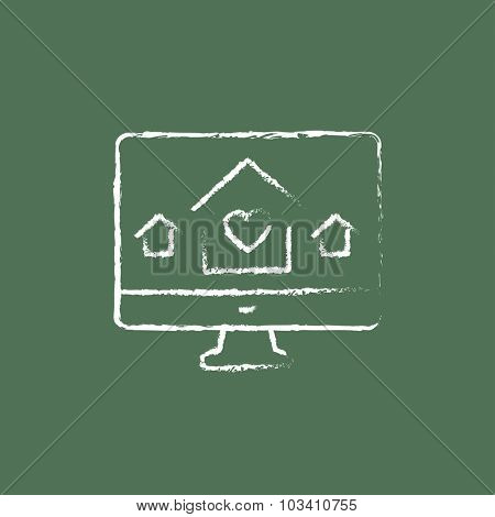 Smart house technology hand drawn in chalk on a blackboard vector white icon isolated on a green background.