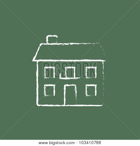 Two storey detached house hand drawn in chalk on a blackboard vector white icon isolated on a green background.