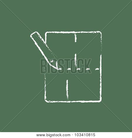 Layout of the house hand drawn in chalk on a blackboard vector white icon isolated on a green background.