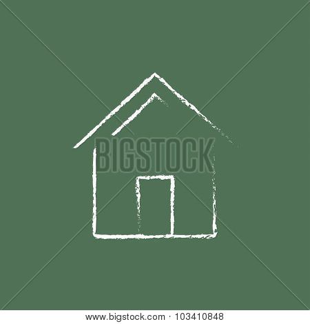 House hand drawn in chalk on a blackboard vector white icon isolated on a green background.