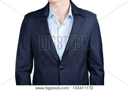 Closeup Fashion Dark Blue Blazer Mens  Wedding Suit For Groom.