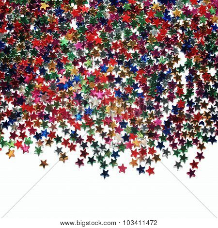 Text Frame With Plenty Of Colorful Stars. Scatter.