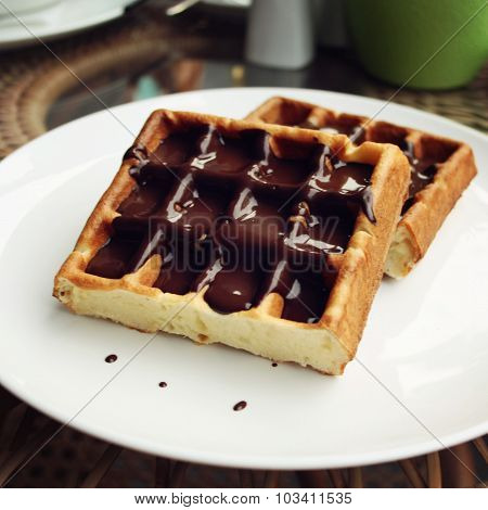 Vienna Waffles covered with chocolate topping.