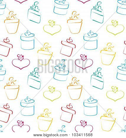 Seamless Wallpaper of Sketch Colorful Gift Boxes