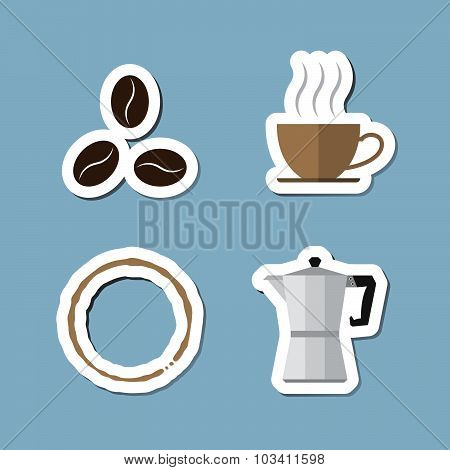 Coffee And Tea Flat Icon Set