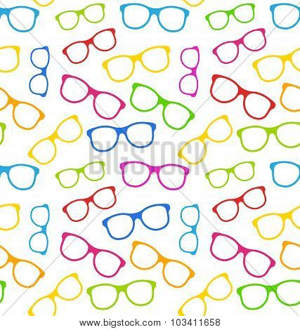 Seamless Texture with Colorful Eyeglasses