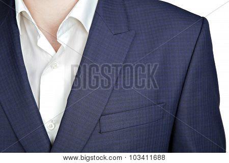 Double-breasted Mens Blazer With A Navy Blue Small Checkered Pattern.