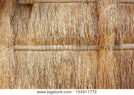 Wall Made From Straw And Bamboo
