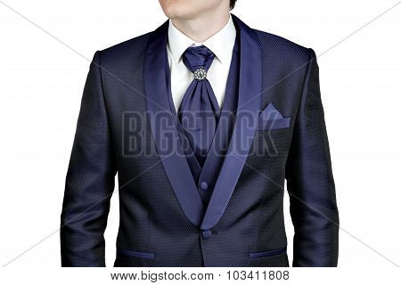 Dark Blue Men Suit, Wedding Or Evening, Waistcoat, Shirt, Plastron.