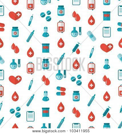 Seamless Pattern with Flat Medical Icons, Repeating Backdrop