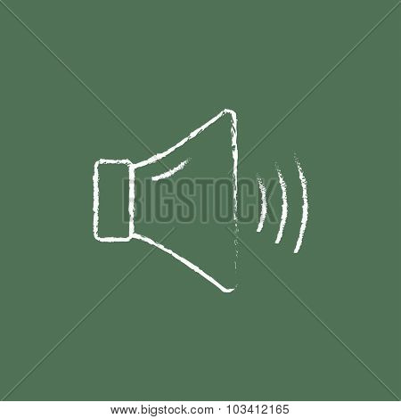 High speaker volume hand drawn in chalk on a blackboard vector white icon isolated on a green background.