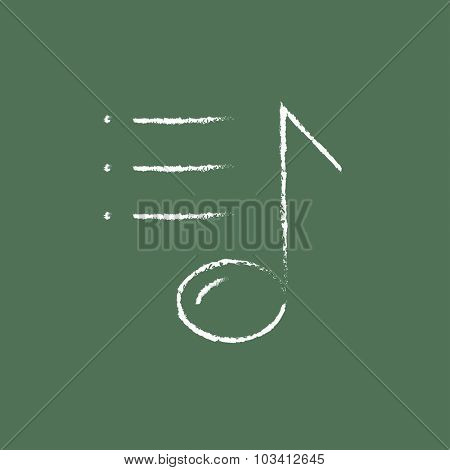 Musical note hand drawn in chalk on a blackboard vector white icon isolated on a green background.