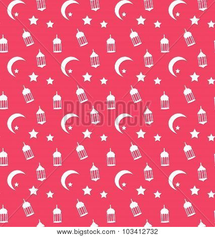 Islamic Seamless Pattern with Arabic Lamps, Crescents and Stars