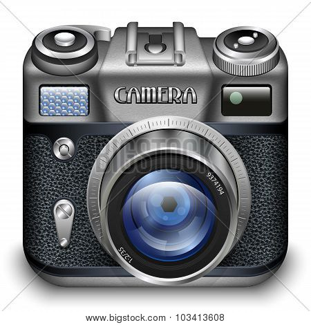 Vintage Photo Camera Icon. Detailed Vector Illustration