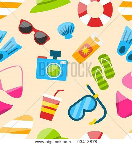Seamless Pattern with Tourism Objects