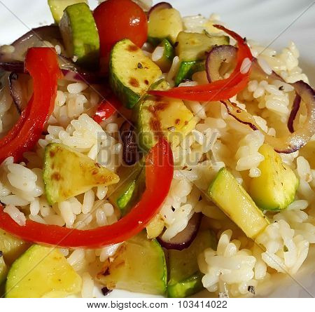 Vegetable risotto made of zucchini