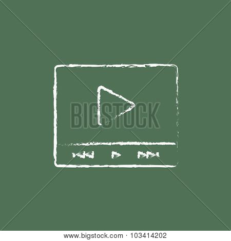 Video player hand drawn in chalk on a blackboard vector white icon isolated on a green background.