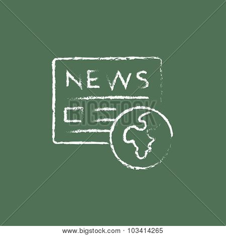 International newspaper hand drawn in chalk on a blackboard vector white icon isolated on a green background.