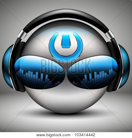 Brutal Dj Music Smiley With Headphones