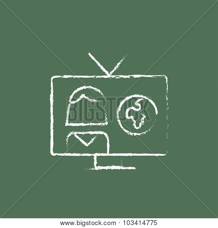 TV report hand drawn in chalk on a blackboard vector white icon isolated on a green background.