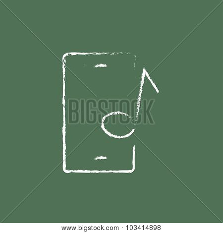 Smartphone with music note hand drawn in chalk on a blackboard vector white icon isolated on a green background.