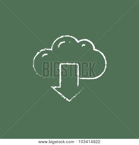 Cloud with arrow down hand drawn in chalk on a blackboard vector white icon isolated on a green background.