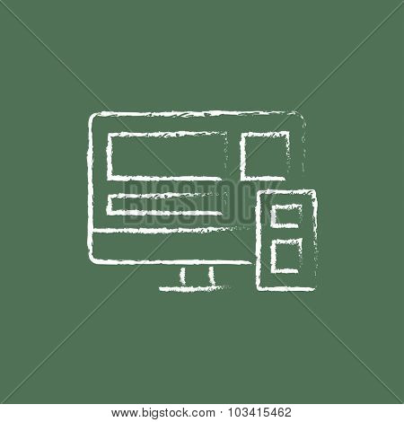 Responsive web design hand drawn in chalk on a blackboard vector white icon isolated on a green background.