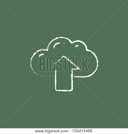 Cloud with arrow up hand drawn in chalk on a blackboard vector white icon isolated on a green background.