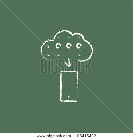 Cloud computing hand drawn in chalk on a blackboard vector white icon isolated on a green background.