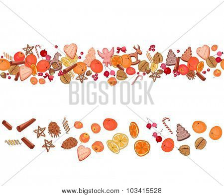 Christmas festive garland with fruits, cookies, berries,spice and candies isolated on white. Seamless pattern brush.  For season design, announcements, postcards, posters.
